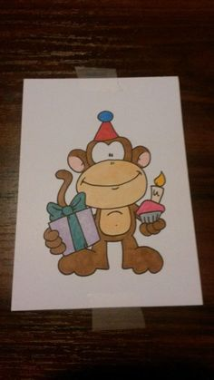 Ooo ooo ooo aaahhh aaahhh aaahhh as my darling niece would say. This birthday monkey was colouring in with copic markers.