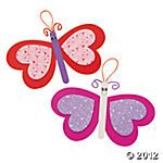 valentine's butterfly magnet - 1 large foam heart, 2 medium foam heart, clothespin, 2 eyes, pipe cleaner, magnet on back