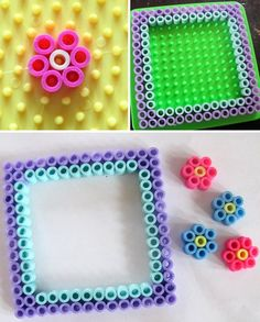DIY how to make a BFF picture frame Items needed: Perler beads, square pegboard, iron, and wax paper, Step 1: Create two squares that are as big as your picture on the pegboard Also create flowers. Step 2: Put wax paper on creation and heat iron to Cotton setting or Medium and iron. Once creation is fused together flip the pegboard over , remove the pegboard and iron back side with wax paper on. Step 3: once fully ironed, Super glue the flowers. Step 4: tape picture to the back