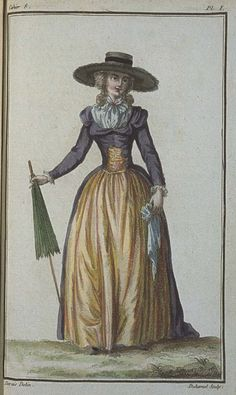 Cabinet des Modes, March 1786, 8e Cahier, 1ere Planche. The Redingote is of Louviers wool, in Bishop's purple, and trimmed with white buttons. Little manchettes of batiste or plain muslin are worn at the ends of the sleeves of the Redingote. The Corset and Petticoat which accompany this Redingote, are of Indian taffeta in lemon. These two colors of a sweet and tender look, vary and contrast together agreeably.