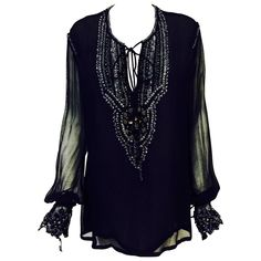 Just Cavalli Black Silk Tunic With Poet Sleeves and Metallic Embroidery    From a collection of rare vintage shirts at https://www.1stdibs.com/fashion/clothing/shirts/