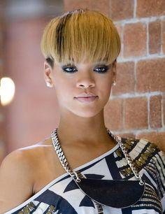 Rihanna Short Straight Bowl Cut