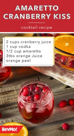 You know amarettoits a cocktail favorite for a reason! Bring this almond liqueur to new life with this cranberry mixed drink recipe from BevMo! Garnish with orange and fresh cranberries and youve got a delicious beverage for your next party. Liquor Drinks, Cocktail Drinks, Cocktail Recipes, Alcoholic Drinks, Bartender Drinks, Beverages, Christmas Cocktails, Holiday Drinks, Holiday Recipes