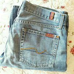 """7 for All Mankind Bootcut Jeans Preloved jeans. No stains. Some wear to the bottoms of the jeans. Super cute and comfy! Size 28. 32"""" inseam (7) 7 for all Mankind Jeans Boot Cut"""