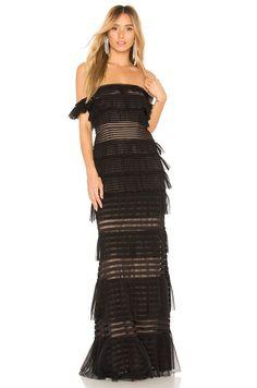 BCBGMAXAZRIA Elora Off The Shoulder Gown in Black  6602c8a588aa