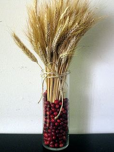 Wheat and cranberries, perfect and simple fall/thanksgiving decor or centerpiece