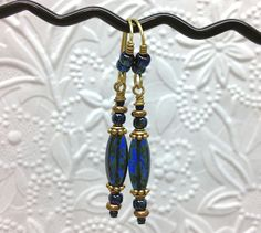 Abyss Linear Glass Beaded Earrings in Shades of by thepinkmartini, $22.00