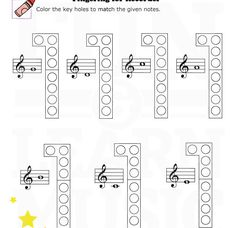 recorder composition worksheet for fourth (3rd) grade. I