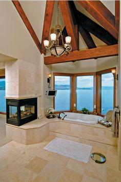 fireplace bathroom