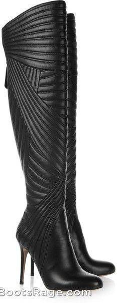 #VALENTINO Black Stitched Leather Knee Boots - Women Boots And Booties