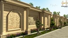 Farm House Classic Boundary Wall On Behance Con House Boundary Wall Design E House Boundary Wall Design Gate Wall Design, House Wall Design, Front Wall Design, Exterior Wall Design, Village House Design, Fence Design, Interior Exterior, Classic House Design, Modern Villa Design