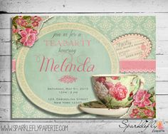 Vintage Tea Cup Bridal Shower / Baby Shower / Birthday Party Invitation (Custom DIY Printable) from Sparklefly Paperie Tea Party Invitations, Vintage Invitations, Bridal Shower Invitations, Vintage Stationary, Invites, Baby Shower Tea, Tea Party Bridal Shower, Diy Shower, Shower Ideas