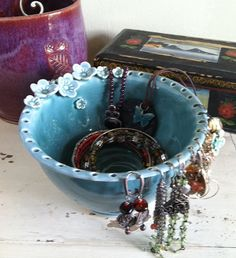 Great idea! Ceramic, hand thrown bowl jewelry organizer-on Etsy!