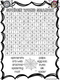Thanks for stopping by my store! Enjoy this spider freebie! Halloween Activities For Kids, Autumn Activities, Book Activities, Halloween Word Search, Halloween Words, Japanese Language, Spanish Language, Sign Language, French Language