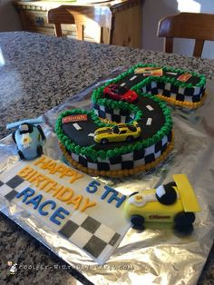 This racetrack cake is one of three cakes I made in the same day for a combined brother and sister birthday party. The cake is triple chocolate, frosted in Diy Birthday Cake, Homemade Birthday Cakes, Birthday Cake Decorating, Boy Birthday Parties, Homemade Cakes, 5th Birthday, Birthday Ideas, Kids Race Track, Race Track Cake