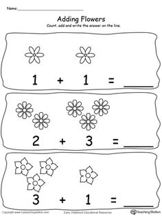 **FREE**Adding Numbers With Flowers - Sums to Add numbers using pictures of flowers. Sums to in this printable math worksheet. Math Addition Worksheets, Kindergarten Addition Worksheets, Numbers Kindergarten, Printable Math Worksheets, Preschool Math, Kindergarten Worksheets, Writing Numbers, Kids Learning, Rain Drops