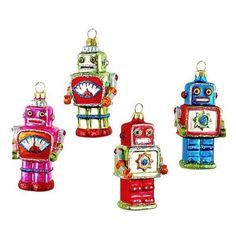 SET-OF-4-GLASS-ROBOT-CHRISTMAS-TREE-ORNAMENTS-3-Retro-Sci-Fi-NEW-Outer-Space