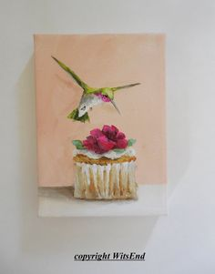 'SWEET TREATS' Bird Cupcake painting original ooak art still life by 4WitsEnd, via Etsy