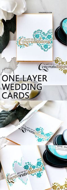 PTI   One Layer Stamped & Die Cut Wedding Congratulations Cards by Yana Smakula. Video Tutorial