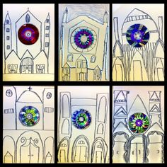 Grade - Gothic Architecture Love The Combination Of The Colorful Radial Symmetry Rose Windows And The Bw Drawn And Shaded Gothic Cathedrals Arte Elemental, Classe D'art, Art Et Architecture, Architecture Background, 6th Grade Art, Ecole Art, School Art Projects, Art Lessons Elementary, Elementary Teaching