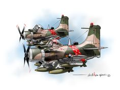 VNAF A-1H Skyraiders from the 524th FS in the mid 60s.