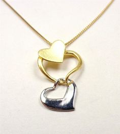 STERLING SILVER 14K GOLD VERMIEL MY THREE HEARTS LOVERS PROMISE PENDANT NECKLACE