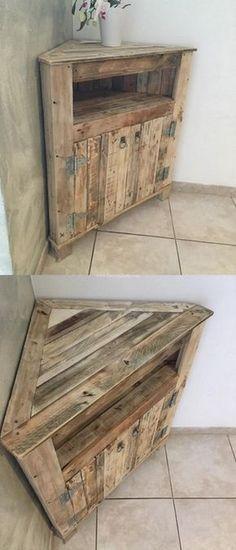 Diy Pallets Corner Cabinet Design