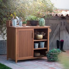 Whether you're an experienced gardener or you've just taken up the hobby recently, the Belham Living Brighton Beach Wood Potting Bench Cabinet. Outdoor Potting Bench, Outdoor Buffet, Outdoor Decor, Outdoor Living, Potting Tables, Outdoor Projects, Outdoor Rooms, Outdoor Ideas, Patio Storage