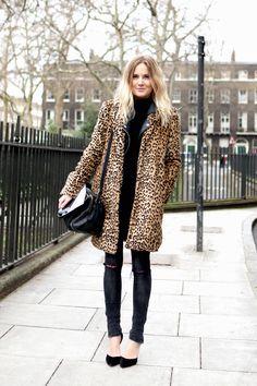 Mango leopard print coat, Joseph turtleneck jumper, grey skinny jeans, black pumps.