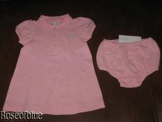 RALPH LAUREN POLO 9 M DRESS + DIAPER PANTY SET BABY PINK CLASSIC COTTON #RalphLauren
