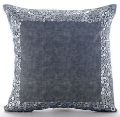 Silver Surround - 16x16 Sequin Embroidered Leather Pillow.
