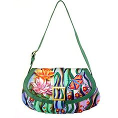 Anuschka Genuine Leather Hand Painted Small Ruched Flap Handbag (Zebra Garden) Review