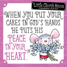 Where are you putting your worries today?  #LittleChurchMouse