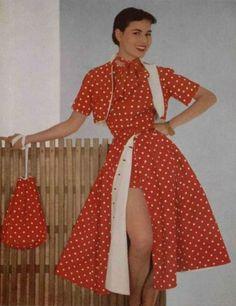 Pierre Balmain Polka Dot Dress in Halter Dress Design 1951