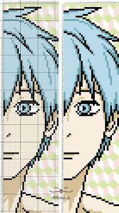 Kuroko-kuroko no basuke Cross Stitch Bookmarks, Beaded Cross Stitch, Cross Stitch Embroidery, Minecraft Pattern, Minecraft Pixel Art, Anime Pixel Art, Art Anime, Kuroko No Basket, Bead Loom Patterns