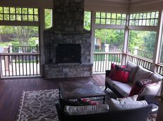 Screened in Porch with Fireplace | Share