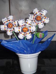 centro de mesa para festa  flores de bala