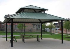 ABC Recreation can custom design, build and install shade structures, such as gazebos, and pavilions to complement your recreation park surroundings. Shade Structure, Shelters, Pavilion, Gazebo, Custom Design, Shades, Outdoor Structures, Park, Building