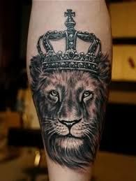 black and grey leo lion with crown tattoo realistic