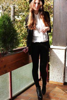 Shop this look on Kaleidoscope (blazer, blouse, leggings, bootie, hat)  http://kalei.do/WTN6FwBFFpQrDFfQ