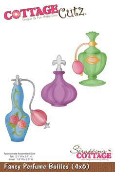 CottageCutz Fancy Perfume Bottles (4x6)
