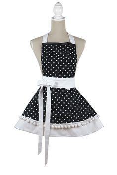 Black and white dress apron  ##zastera #apron #kuchynskazastera #retro #pinupapron #pinup #kitchen #madeinslovakia #kuchyna #cukraren #pecenie