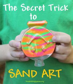 How To Make Colored Sand Art For Kids - Busy Kids Happy Mom! You'll never guess what keeps this sand in place - so easy! No more spilled masterpieces! Preschool Art, Craft Activities For Kids, Projects For Kids, Craft Projects, Craft Ideas, Fun Ideas, Creative Ideas, Camping Crafts, Fun Crafts
