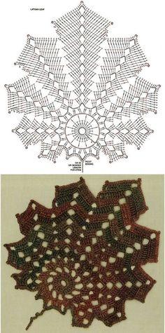 Watch The Video Splendid Crochet a Puff Flower Ideas. Wonderful Crochet a Puff Flower Ideas. Crochet Leaf Patterns, Crochet Doily Diagram, Crochet Leaves, Crochet Fall, Crochet Chart, Thread Crochet, Crochet Motif, Crochet Designs, Crochet Doilies