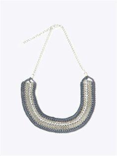 Collier chaine, perles et macramé
