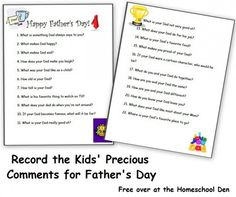 How well does your kid know Dad? Giggle over her answers, then share them on #FathersDay. FREE printable questionnaire: http://www.parents.com/blogs/homeschool-den/2013/06/02/fathers-day/record-the-kids-precious-thoughts-for-fathers-day/?socsrc=pmmpin130604jfdQuestionnaire