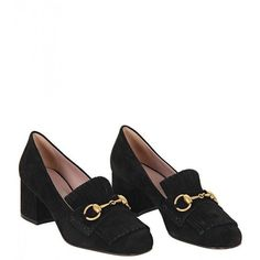 Gucci Black Suede Chunky Horsebit Loafers (720 AUD) ❤ liked on Polyvore featuring shoes, loafers, heels, black loafers, mid heel shoes, horse bit loafers, chunky loafers and black suede shoes