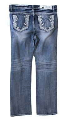 Grace in LA Plus Size Jeans Straight Leg with Floral Embellished Pockets