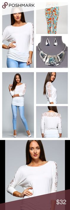 LOVELY LACE DETAIL RUCHED TOP Pretty Ruched Top with Lovely Lace Details  Ruching is Figure Flattering  Lace Detailing along the Arms & Back. So pretty! Wear with Pretty Daisy Leggings & Silver Necklace Set  Sizes S, M, L  NO TRADES Southern Charm Boutique Tops