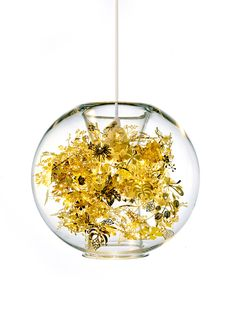 """{Tangle Globe} the """"tangle"""" of gold metal flora inside the glass light can be removed, but I love it as is!"""